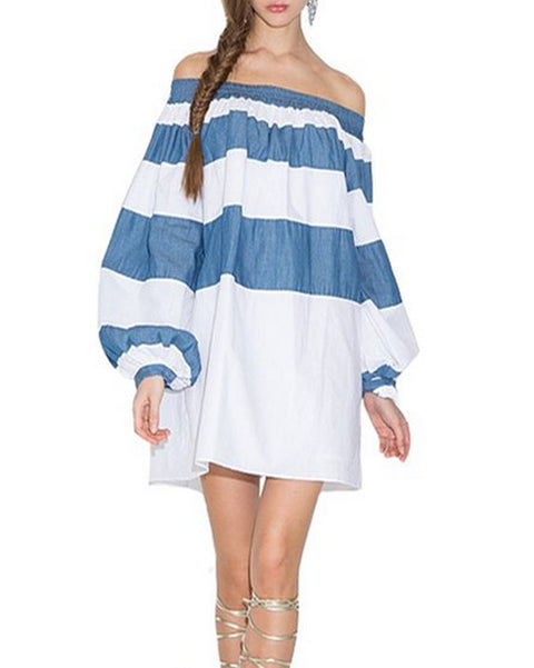 Roiii Fashion Womens Casual Long Sleeve Off Shoulder Short Dress Tops Loose Beach High Street Dresses Plus Size Blouse Spring