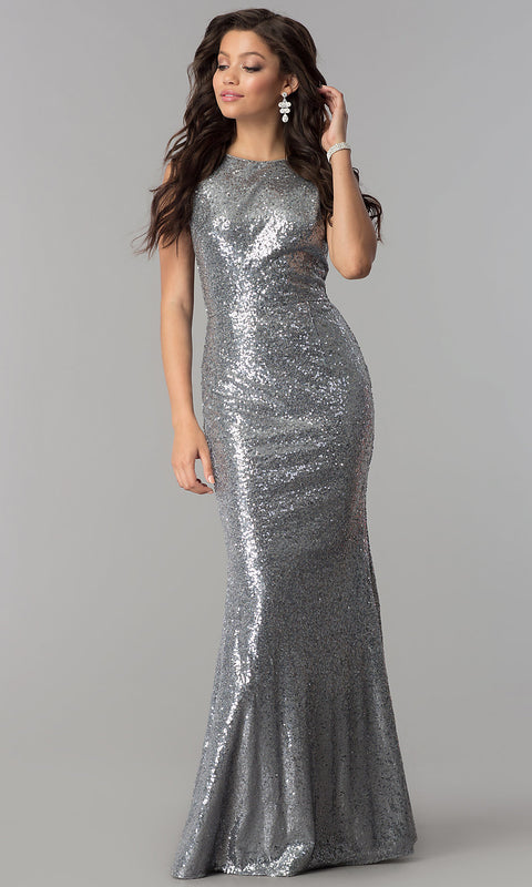 Roiii backless twinkle sequin floor-length long fishtail dressses party dresses silver color