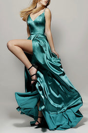 Roiii deep V backless beautiful suspender party dresses long dresses GREEN