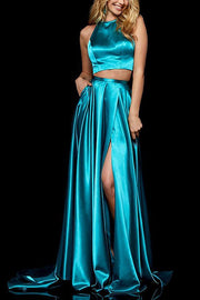 Roiii  beautiful Split Up Open Side slim long dresses party dresses TEAL BLUE