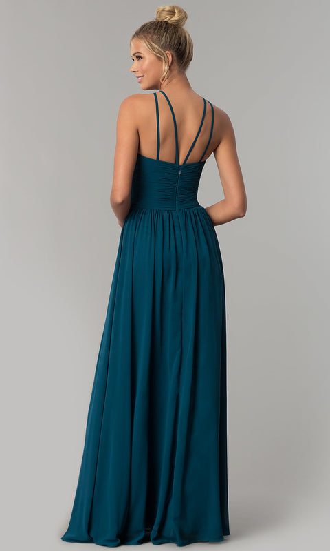 ROIII sexy backless long royal party dress