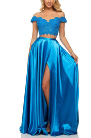 Roiii hot selling fashion lace sequin off-shoulder slim long evening dresses blue color