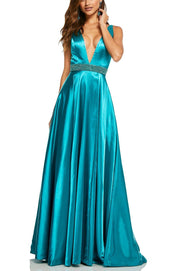 Roiii beautiful deep v-neck floor-length long dresses party dresses turquoise color