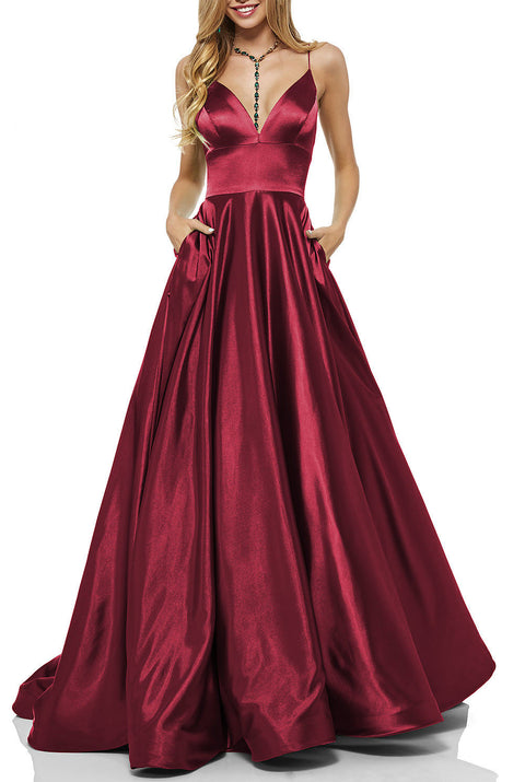 Roiii deep V backless suspender long dresses party dresses WINE RED