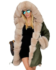 Roiii Thickened Warm Milk Beige Faux Fur Casual Parka Fashion Luxury Women Hooded Long Winter Jacket Overcoat EU SIZE S-2XL-3XL
