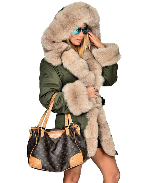 Roiii Thickened Grey Warm Military Amry Style Beige Faux Fur  Casual  Parka Hood Women Hooded Long Winter Jacket Overcoat