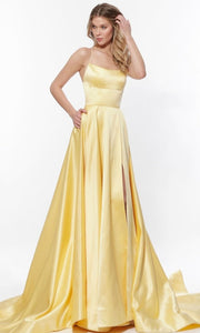 Roiii backless floor-length long dresses royal yellow party dresses