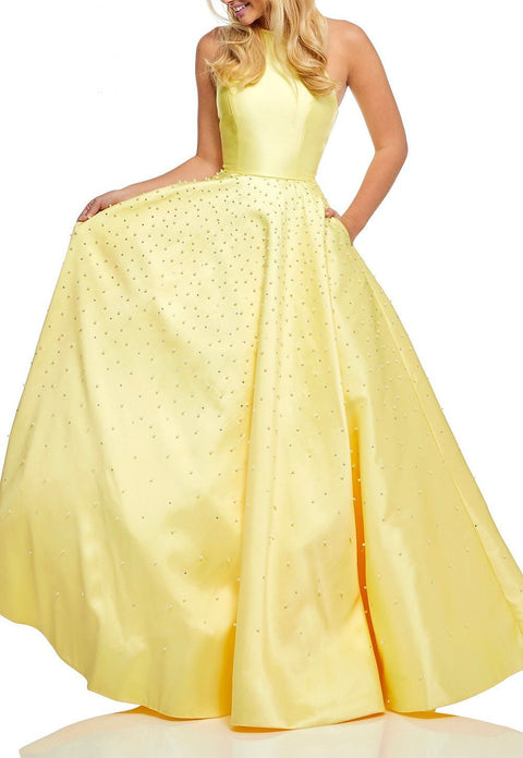 Roiii backless Embedding pearls floor-length long dresses party dresses yellow