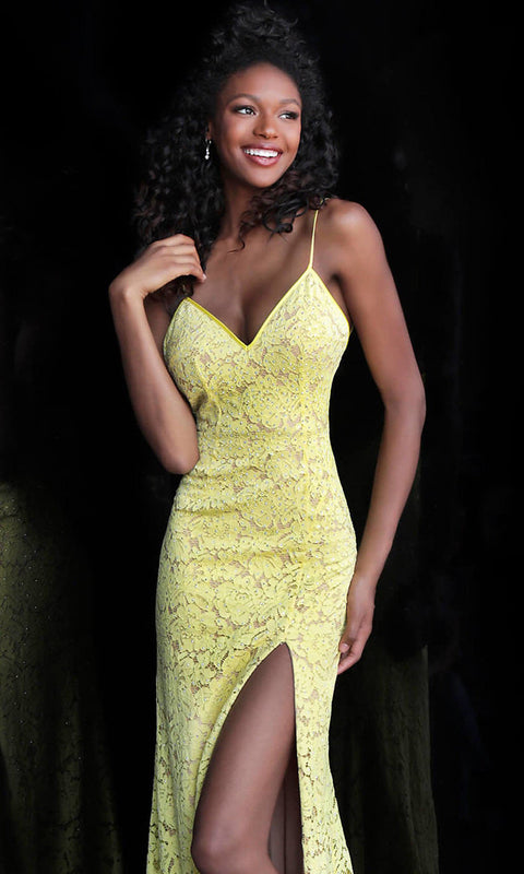 Roiii fashion sexy lace deep v-neck backless floor-length long yellow party dresses