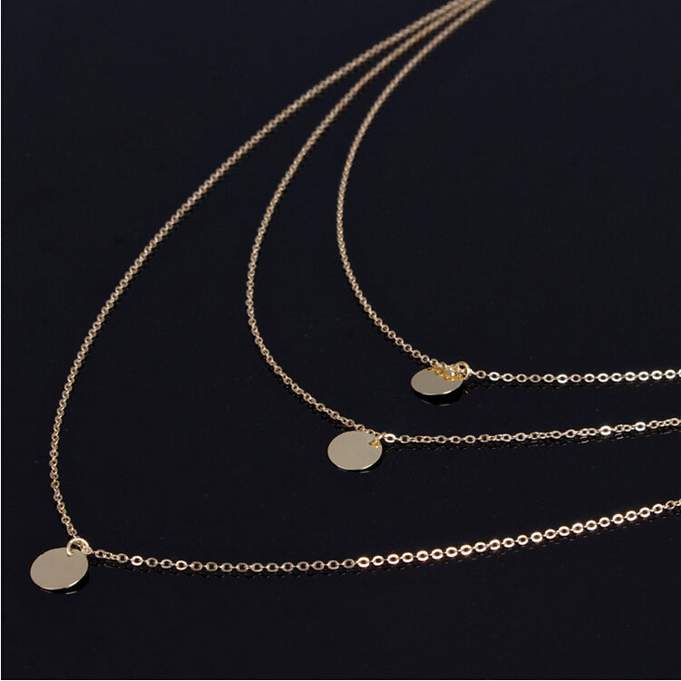Three Coin Layering Necklace - Cosmos Selected