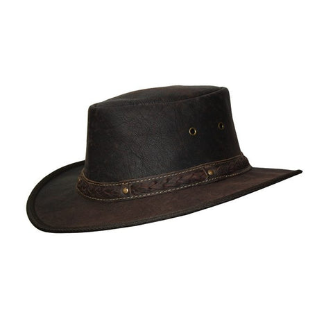 Kangaroo Leather Hat - Dark Brown