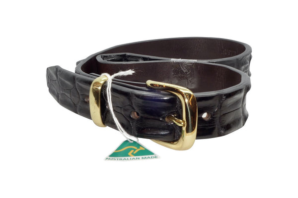 Crocodile Leather Belt - Black-Belt-Genuine UGG PERTH