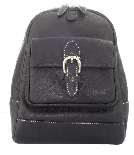 Lamb Leather Backpack - Black