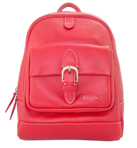 Lamb Leather Backpack - Red