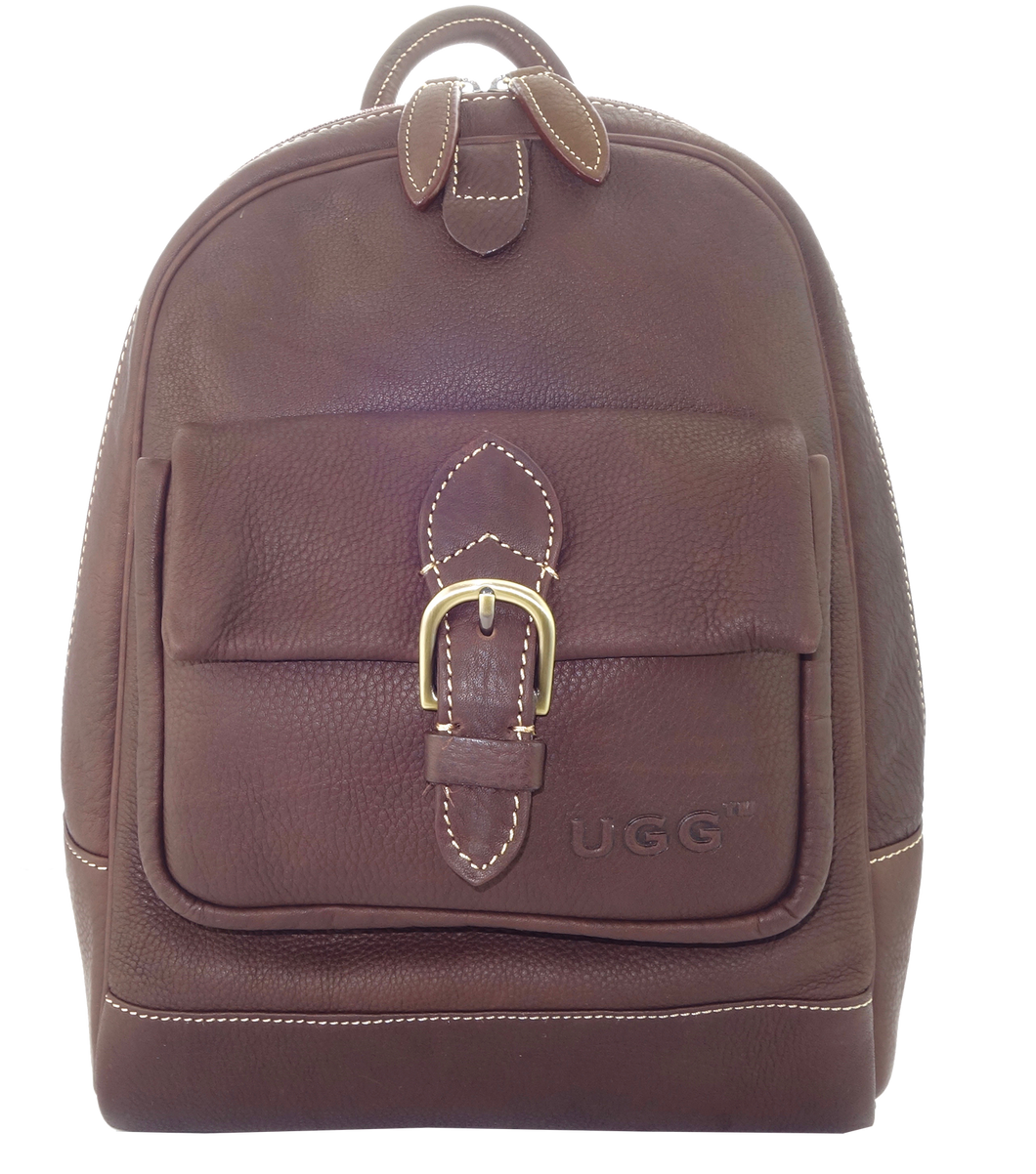 Lamb Leather Backpack - Dark Brown
