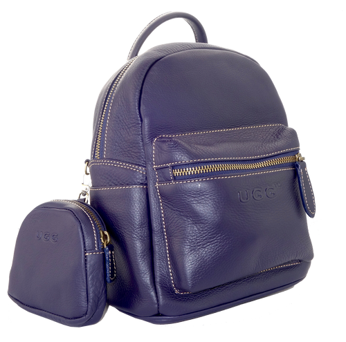 Lamb Leather Pocket Backpack - Navy Blue