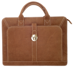 Kangaroo Leather Briefcase - Dark Brown 8757