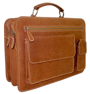 Kangaroo Leather Briefcase - Brown 8729