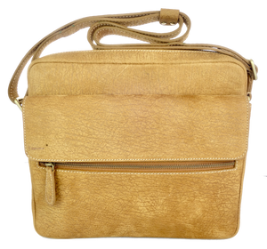 Kangaroo Leather Wide Satchel - Light Brown
