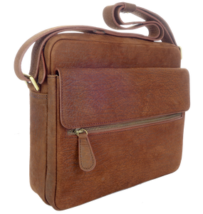 Kangaroo Leather Wide Satchel - Dark Brown