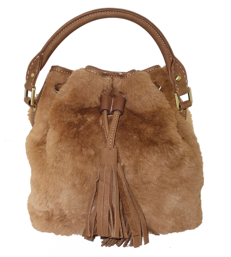 Kangaroo Fur Medium Bucket Bag