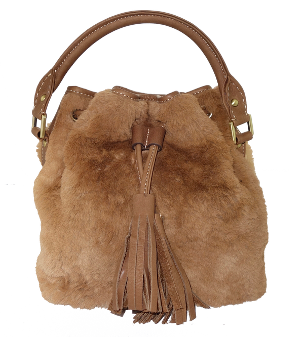 Roo Fur Medium Bucket Bag-Leather Bags-Genuine UGG PERTH