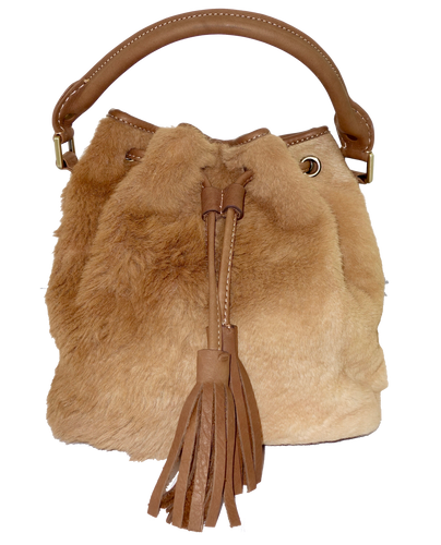 Kangaroo Fur Large Bucket Bag