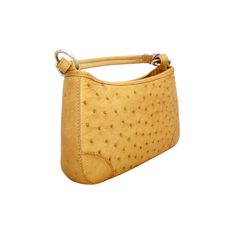 Ostrich Small Handbag - Tan