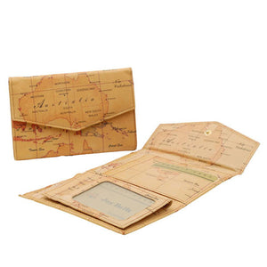 Australia Map Double Snap Flap Wallet