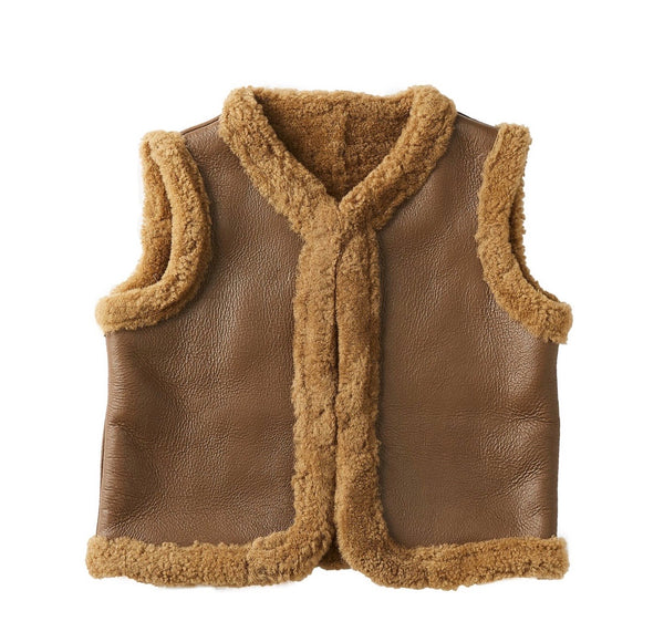 Kids Double Face Nappa Vest - Chocolate-Vest-Genuine UGG PERTH