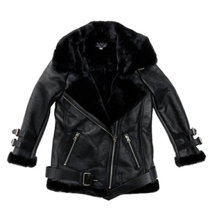 Women's Biker Jacket - Black-Sheepskin Jackets-Genuine UGG PERTH