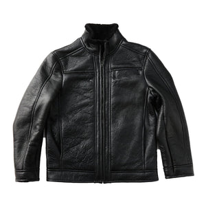 Biker Jacket - Black-Sheepskin Jackets-Genuine UGG PERTH