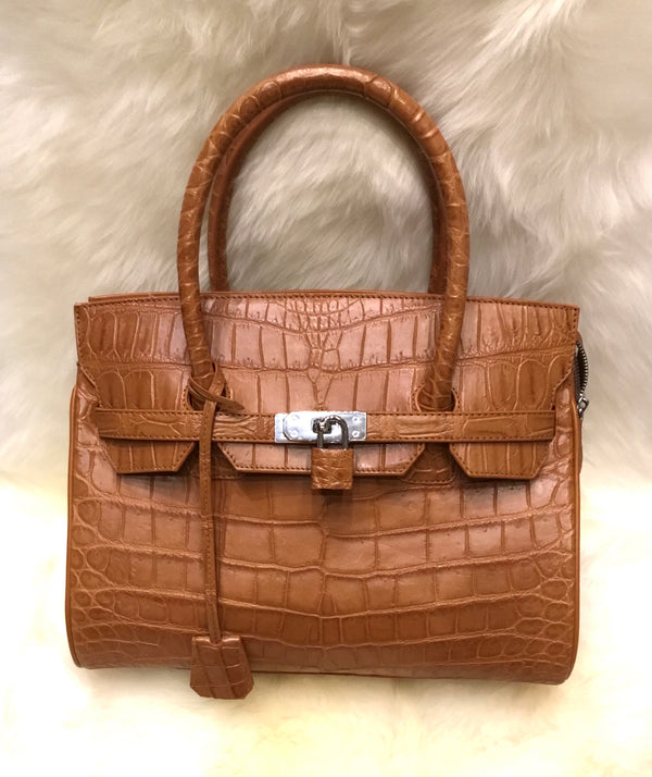 Crocodile Birkin Style Handbag - Brown-Handbags-Genuine UGG PERTH