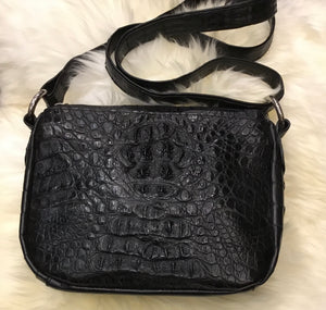 Crocodile Shoulder Bag - Black-Handbags-Genuine UGG PERTH