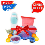 Silicone Freedom Combo ( Food Storage Bags +  Stretch Lids - Free Multi-Purpose Water Bottle )