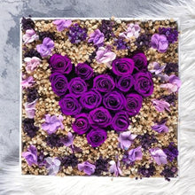 Heart Shaped Deep Purple Rose Arrangement In A Box - Lumiere Heart