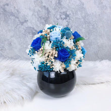 Small Blue Roses and preserved flowers Vase