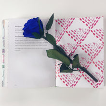 Single Long Stem Blue Rose - Solitaire in Navy