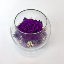 Preserved Deep Purple Rose in a Bowl - Verre Merve - Deep Purple