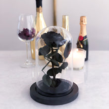 Single Stem Black Rose in a Glass Dome - Wondertale Moyen in Black