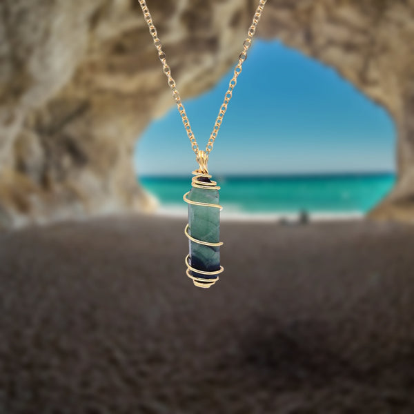 Wire Wrapped Green Fluorite Necklace