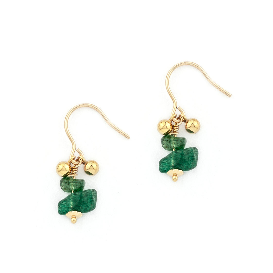 Tegan Drop Emerald Earrings