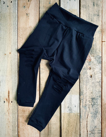 Adult Black Rip Leggings
