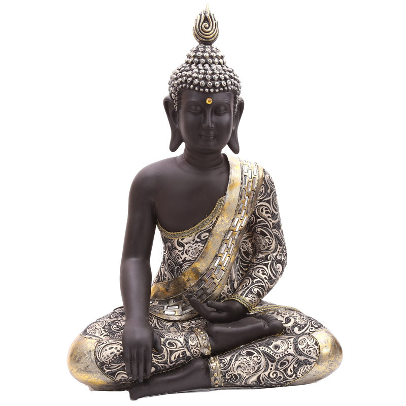 65cm Large Thai Buddha Metallic Figurine with Crossed Legs