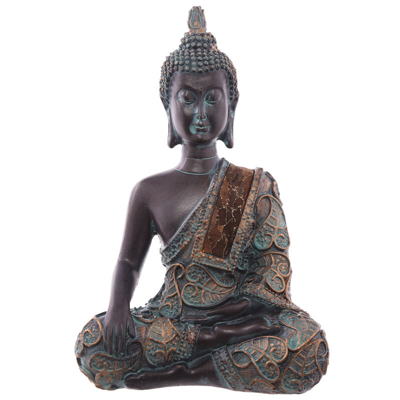 15cm Decorative Verdigris Small Sitting Thai Buddha