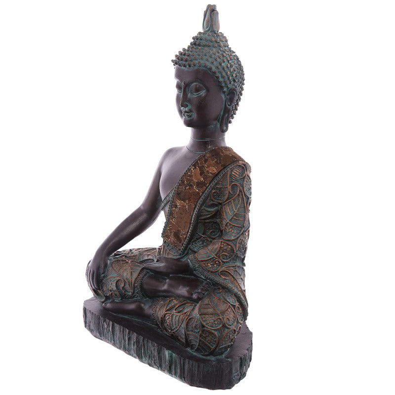 23cm Decorative Verdigris Medium Sitting Thai Buddha