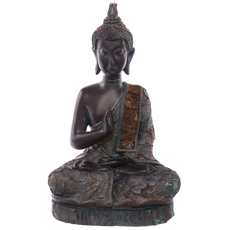 29cm Decorative Verdigris Large Sitting Thai Buddha