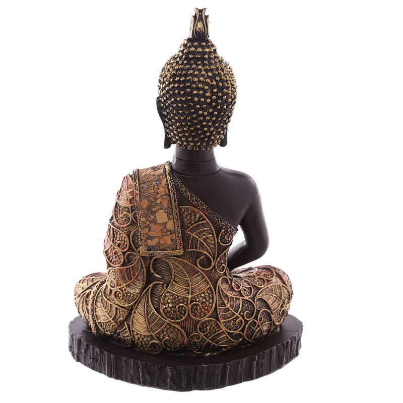 23cm Decorative Antique Red Medium Sitting Thai Buddha