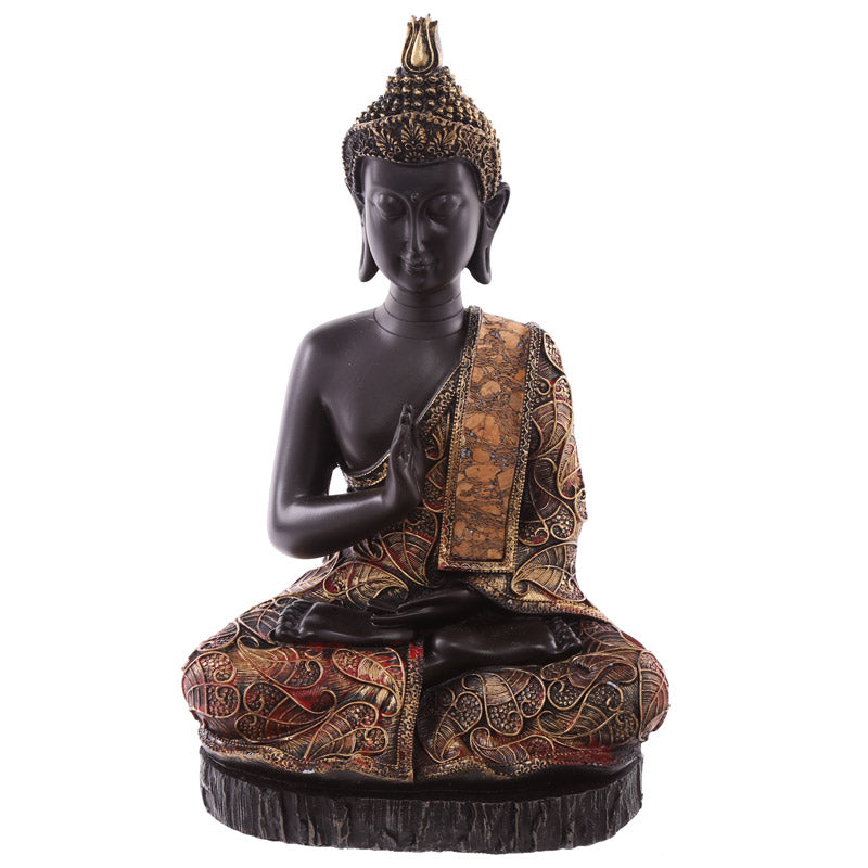 28.5cm Decorative Antique Red Large Sitting Thai Buddha
