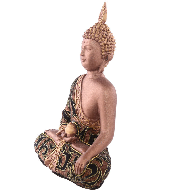 23.5cm Fabric Effect Decorative Thai Buddha Sitting Medium